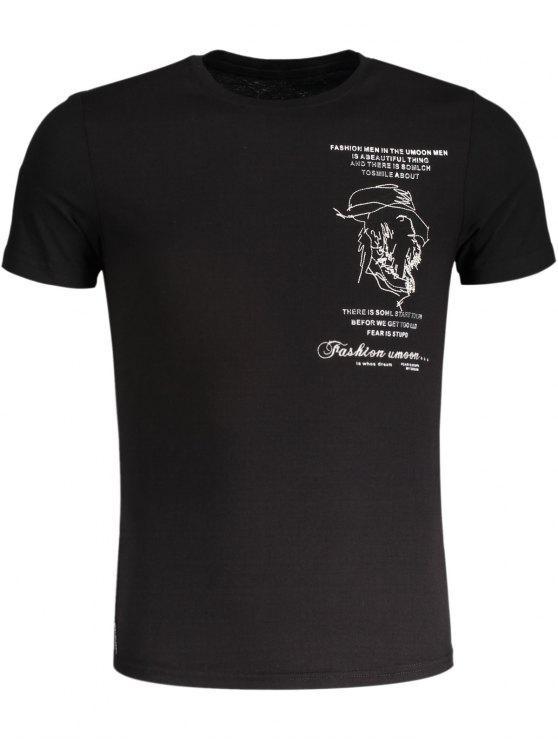 T-shirt en coton brodé pour femme - Noir 2XL