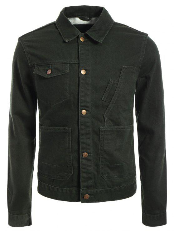 Slim Fit Front Pockets Denim Jacket - Vert Armée M