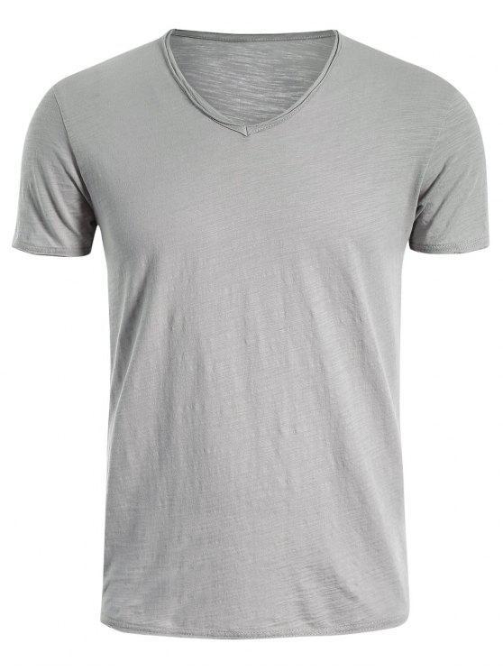 T-shirt en coton V Neck Basic - Gris Clair 2XL
