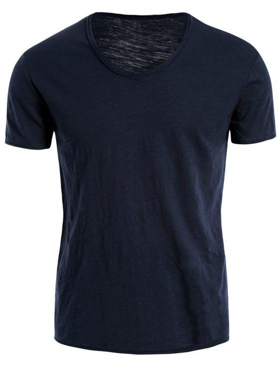 T-shirt en coton V Neck Basic - Bleu XL