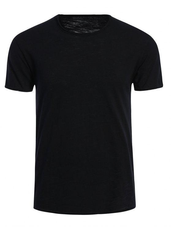 T-shirt Basique Simple Col Rond - Noir 2XL