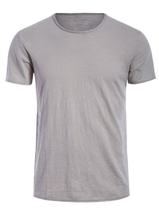 Camiseta básica para hombre del borde crudo - Gris XL