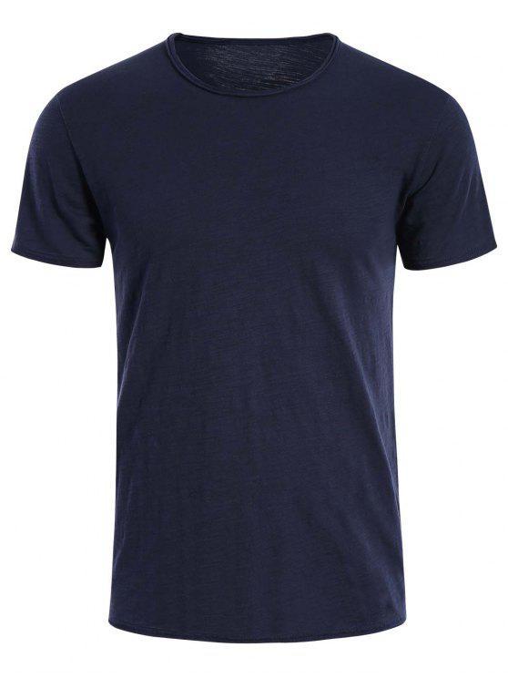 T-shirt Basique Simple Col Rond - Bleu Foncé XL
