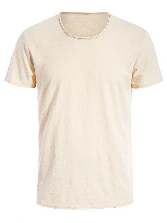 T-shirt Basique Simple Col Rond - Blanc Cassé XL