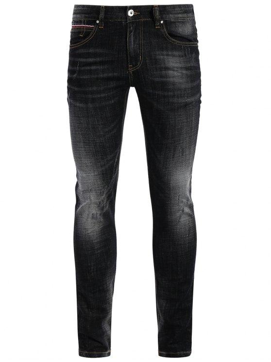 Jeans Usé Droit à Braguette à Glissière - Noir 32