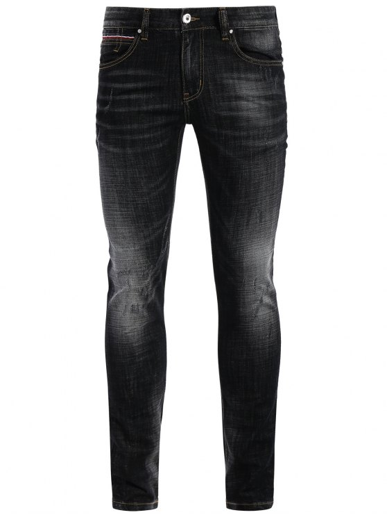 Zipper Fly Straight Worn Jeans - Noir 38