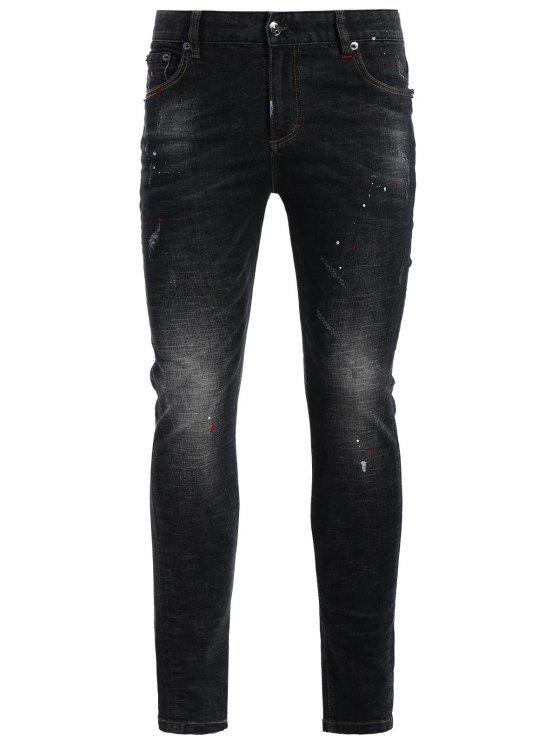 Jeans Vintage Usé à Braguette à Glissière - Noir 34