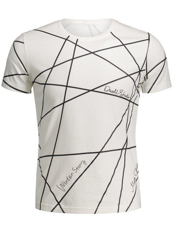 women's Mens Short Sleeve Geo Print Tee - WHITE XL