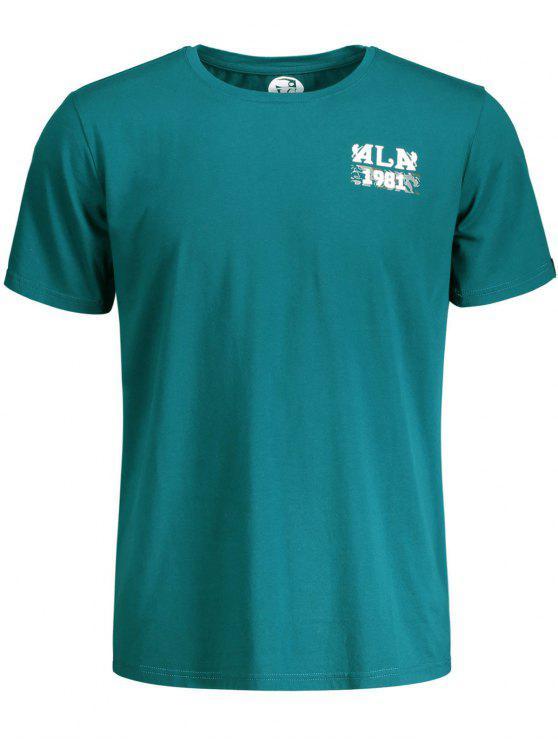 T-shirt Manches Courtes Imprimé Crâne et Lettre - Bleu Vert 2XL