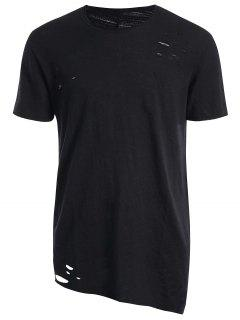 Raw Edge Distressed Asymmetric Tee - Black 2xl