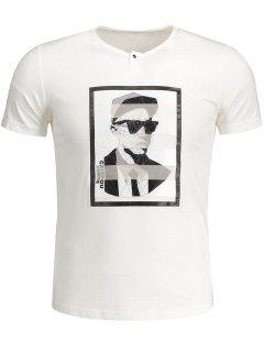 Mens Graphic Cotton Tee - White M