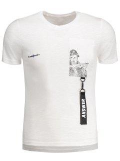 Camiseta Con Cremallera Gráfica De Detalle De Correa - Blanco 2xl