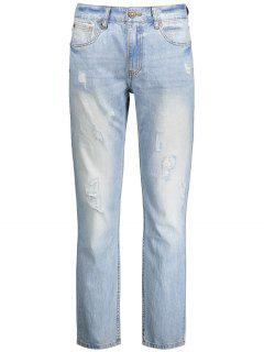 Worn Ripped Zip Fly Straight Jeans - Light Blue 34