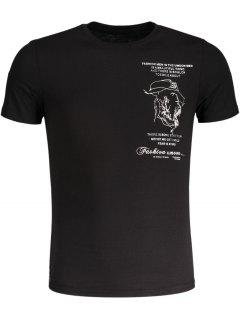 Embroidered Mens Slub Cotton Tee - Black L