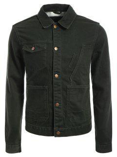 Slim Fit Front Pockets Denim Jacket - Army Green Xl