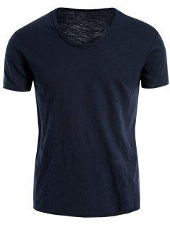 Mens V Neck Cotton Basic Tee - Blue 2xl