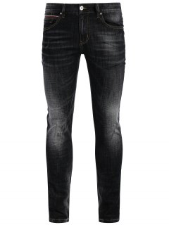 Zipper Fly Straight Worn Jeans - Black 40