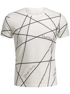 T-shirt Imprimé Géo Manches Courtes - Blanc Xl