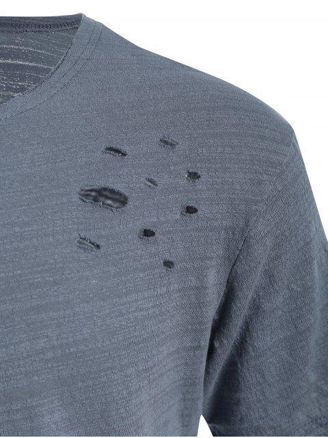 affordable Raw Edge Distressed Asymmetric Tee - BLUE GRAY XL Mobile