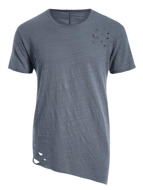 affordable Raw Edge Distressed Asymmetric Tee - BLUE GRAY XL Mobile