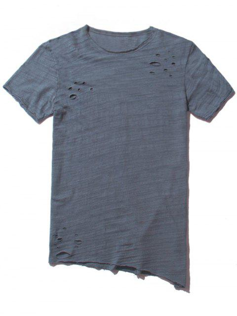 buy Raw Edge Distressed Asymmetric Tee - BLUE GRAY L Mobile