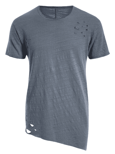 womens Raw Edge Distressed Asymmetric Tee - BLUE GRAY M Mobile