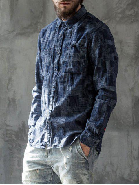 latest Long Sleeves Jacquard Mens Denim Shirt - INDIGO L Mobile
