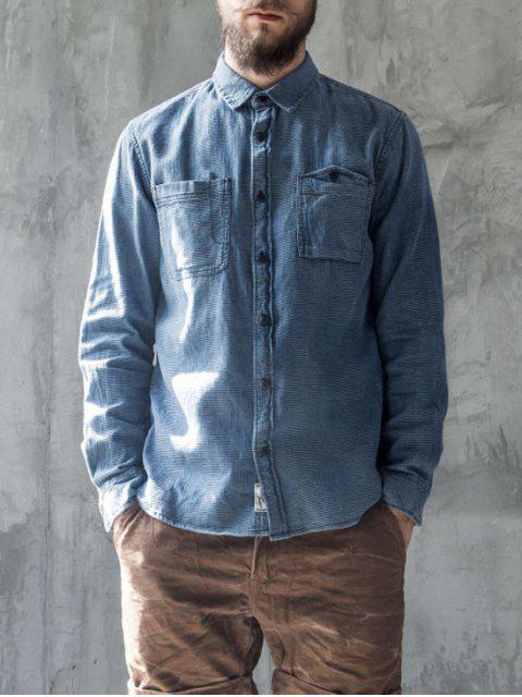 fashion Diamond Jarcquard Long Sleeves Denim Shirt - BLUE 2XL Mobile