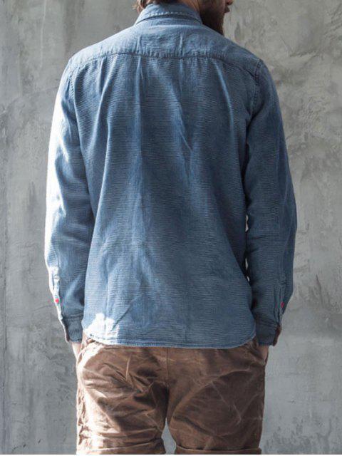 fancy Diamond Jarcquard Long Sleeves Denim Shirt - BLUE L Mobile