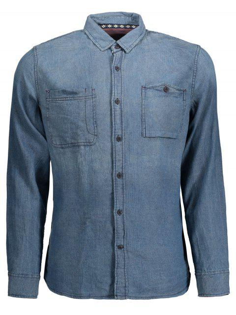 fancy Diamond Jarcquard Long Sleeves Denim Shirt - BLUE L Mobile