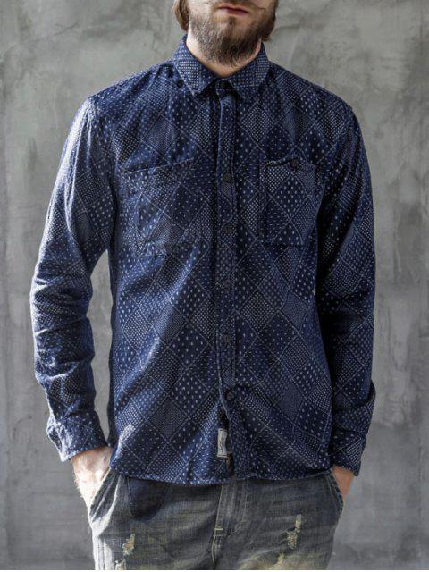 affordable Long Sleeves Jarcquard Denim Mens Shirt - BLUE L Mobile