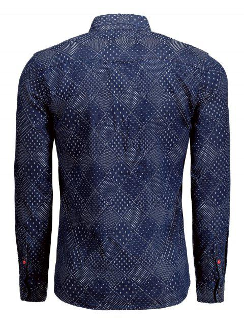 womens Long Sleeves Jarcquard Denim Mens Shirt - BLUE S Mobile