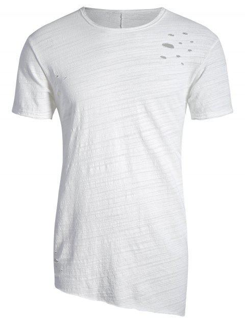 T-shirt Asymétrique Déchiré Bord Usé - Blanc XL Mobile