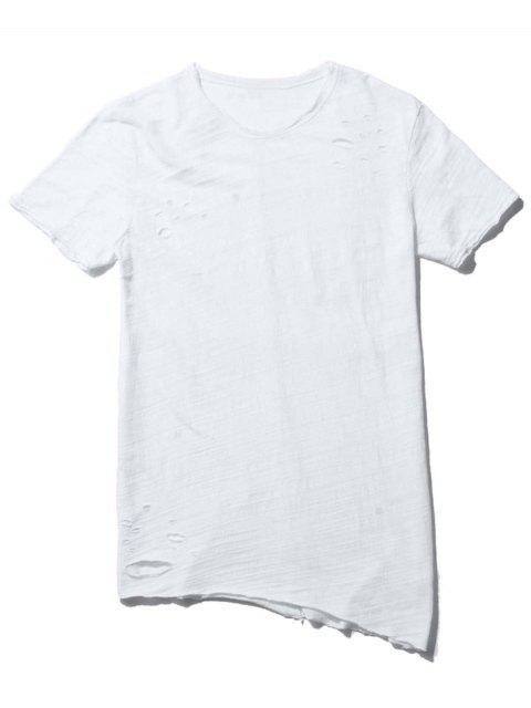 unique Raw Edge Distressed Asymmetric Tee - WHITE L Mobile