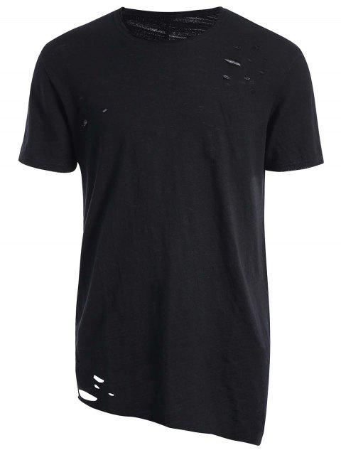 affordable Raw Edge Distressed Asymmetric Tee - BLACK 2XL Mobile