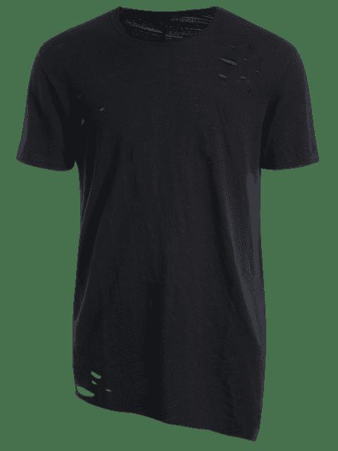 buy Raw Edge Distressed Asymmetric Tee - BLACK XL Mobile