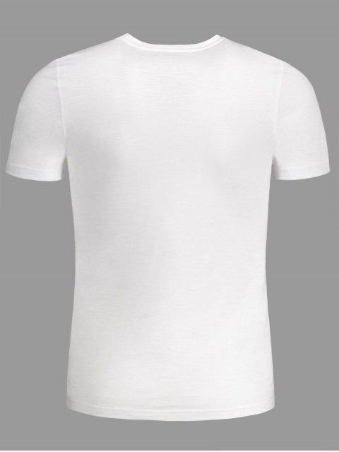online Mens Patched Crewneck Tee - WHITE 4XL Mobile