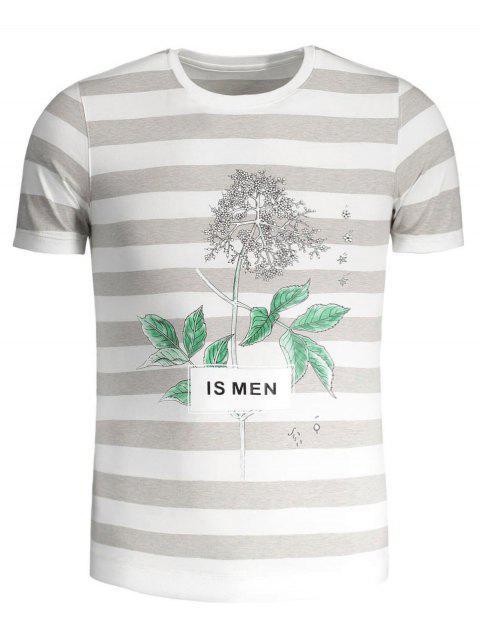 shops Mens Stripe Tree Print Crewneck Tee - GREY AND WHITE 3XL Mobile
