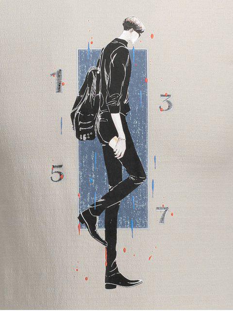 fashion Walking Man Print Graphic Tee - KHAKI XL Mobile