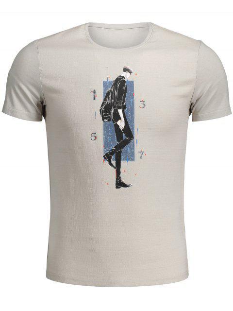 fancy Walking Man Print Graphic Tee - KHAKI L Mobile