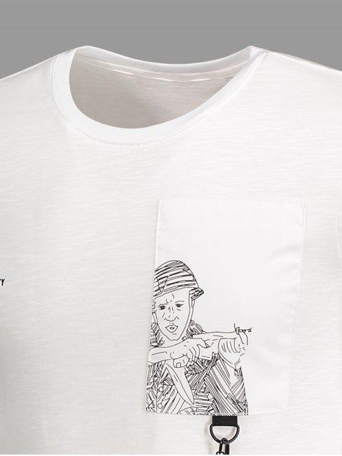 unique Strap Detail Graphic Crewneck Tee - WHITE 4XL Mobile