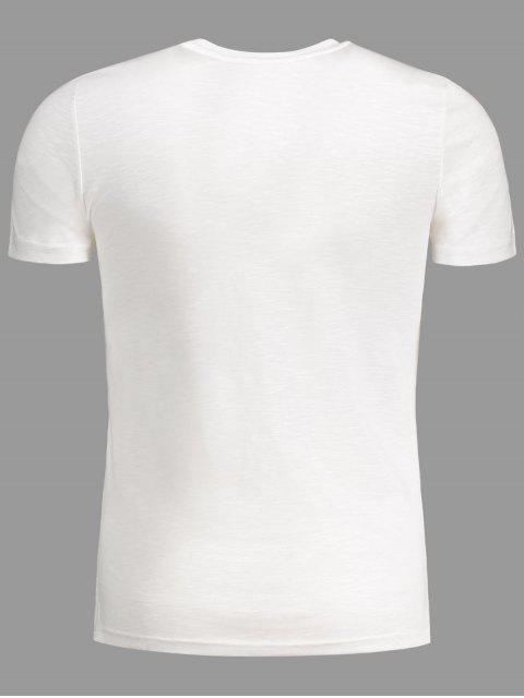 affordable Strap Detail Graphic Crewneck Tee - WHITE 3XL Mobile