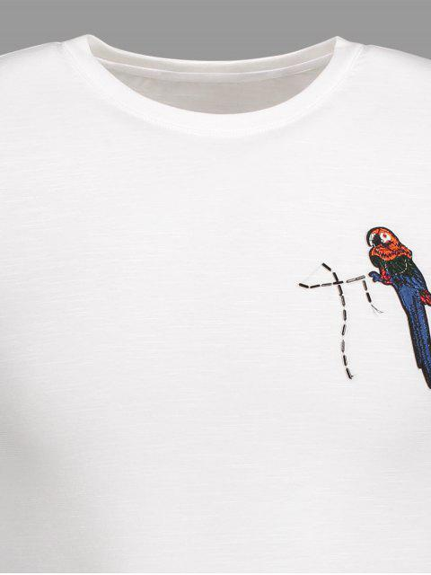 women's Crewneck Bird Patched Tee - WHITE 4XL Mobile