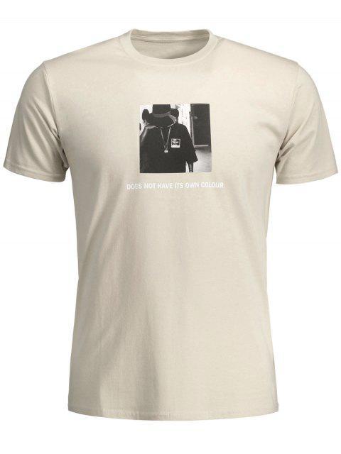 T-shirt en Coton à Motif - Kaki M Mobile