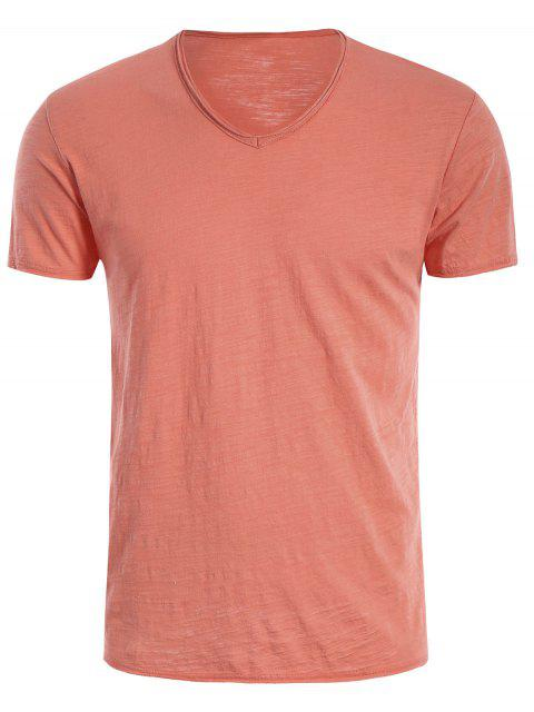 new Mens Raw Edge V Neck Tee - JACINTH 2XL Mobile