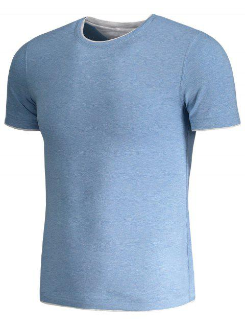 outfits Short Sleeve Mens Space Dye Tee - BLUE 4XL Mobile