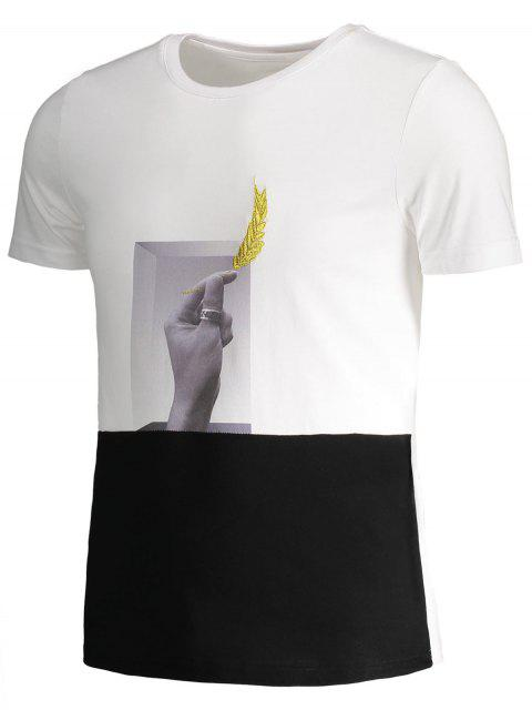 trendy Mens Crewneck Graphic Panel Tee - WHITE AND BLACK 4XL Mobile