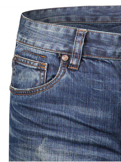 Worn Zip Fly Straight Jeans - Denim Bleu 36 Mobile
