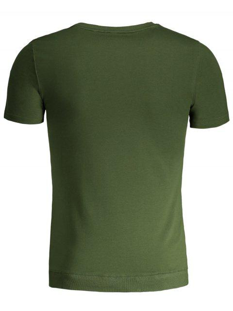 affordable Mens Contrast Strap Detail Crewneck Tee - GREEN 4XL Mobile