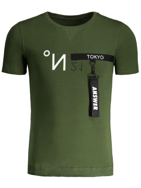 womens Mens Contrast Strap Detail Crewneck Tee - GREEN 3XL Mobile